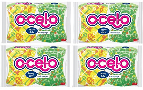 O-Cel-O Sponge Scrubber Heavy Duty Household, 2-Count (Pack of 4), Colors may vary
