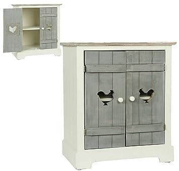Clayre & Eef 5H0089 armario madera blanco puertas gris aproximadamente 53 x 35 x 63 cm pollos de pollo