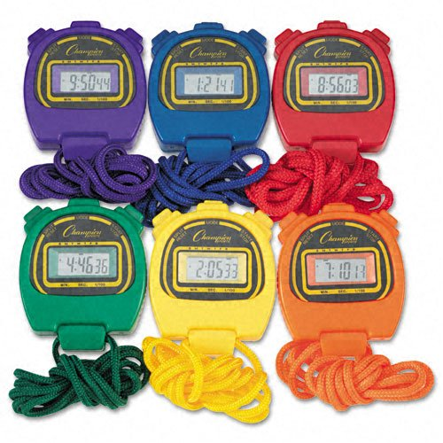 Champion Sports Products - Champion Sports - Water-Resistant Stopwatches, 1/100 Second, Assorted Colors, 6/Set - Sold As 1 Box - Shock-resistant durability for outdoor activities. - Water-resistant for aquatic competitions. - Takes measure of the competit