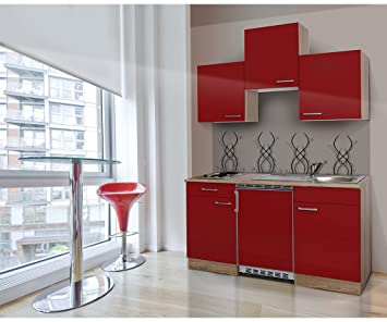 Respekta Kitchen Unit 150 cm Rough-Cut Oak Rough-Cut Oak Replica Red APL Ceran KB150ESRC
