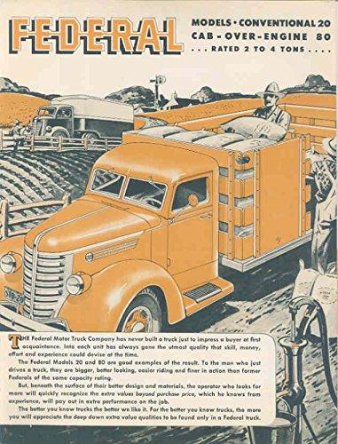 1942 Federal 2-4 Ton COE Truck Brochure Berghoff Beer (Berghoff Beer compare prices)