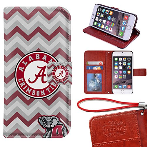 iPhone 6 Plus Wallet Case[5.5 inch], Onelee - Alabama Crimson Tide Premium PU Leather Case Wallet Flip Stand Case Cover for iPhone 6 Plus with Card Slots