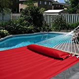 LANDUSA Double Soft Cotton Fabric Hammock Red Color with Pillow, Enjoyable, Light Weight and Portable, Weight Capacity(240lbs) with Strong Attachment Rope - (Double Size)