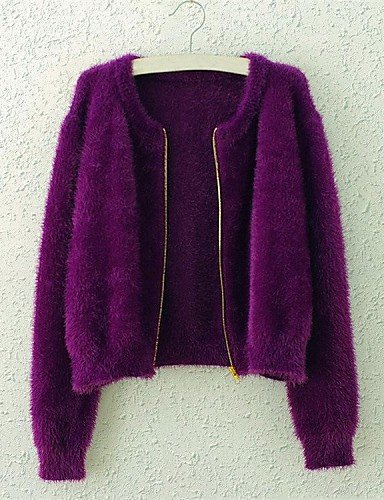 WXD da donna rosa/nero/viola/beige Cardigan, casual a maniche lunghe, purple-one-size