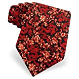 Men's Chinese Dragon Floral Silk Tie by Museum Artifacts in Black