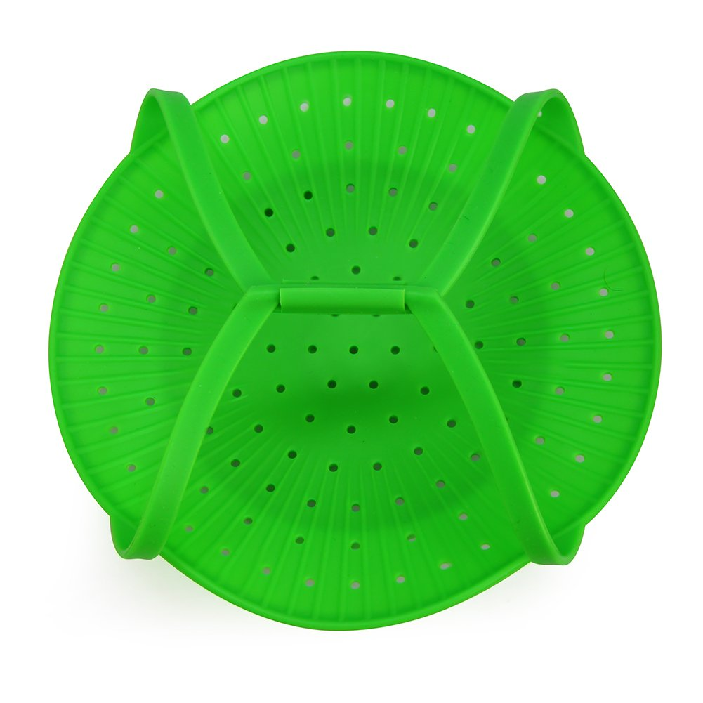 Droiee Silicone Vegetable Steamer Basket Insert for Cooking Pot (NON STICK) Best Silicone Steamer - Works in Microwave - Green