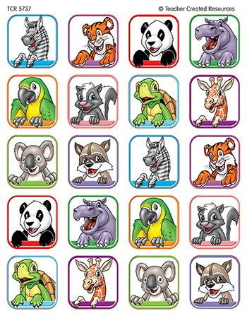 20 Pack TEACHER CREATED RESOURCES ANIMAL FACES 1 STICKERS 120 STKS