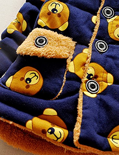 DDSOL Baby Boys Girls Winter Outwear 3D Bear Cotton Hooded Coats 0.5Y-1Y