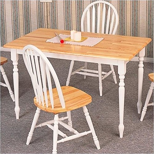 Coaster Country Butcher Block Oak and White Finish Wood Dining Table (Kitchen Table And Chairs For 4 compare prices)