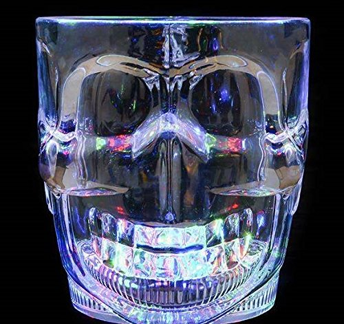 Light Up Flashing LED Skull Mug for Halloween, Pirate themed events or anywhere else a cool LED barware drinking Cup Glass is needed.