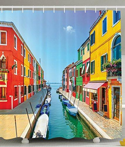 [Cityscape Shower Curtain European Decor Burano Island Canal Venice Lagoon Bathroom Decorations Colorful Houses Windows Doors Gondolas Polyester Fabric Shower Curtain Blue Orange Coral] (Dr Gregory House Costume)