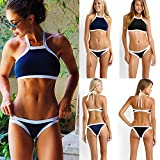 Damen Push Up Bikini Sets Swimwear Swimsuit Schwarz Weiß Blau