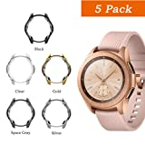 [5 Pack] Uborui for Samsung Galaxy Watch 42mm Case Cover,TPU Scractch-Resist Frame Protective Cover Shell for Samsung Galaxy 42mm Smartwatch 2018,Clear+Black+Silver+Gold+Gray (Color: 5 Pack)