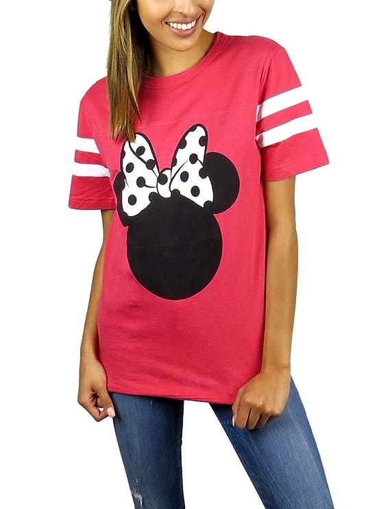 Disney Womens Minnie Mouse Varsity Football Tee Red Heather