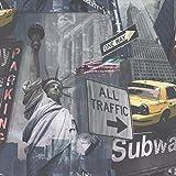 NEW IDECO HOME LIBERTY NYC NEW YORK CITY LANDMARK TAXI SUBWAY 10M WALLPAPER SEPIA