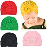 Baby Girl Soft Cotton Beanie Infant Floral Knot Cap Hospital Hat Kid Headwarp Turban (YSPC0921) (5 pack cap) (Color: Yspc0921, Tamaño: One Size)