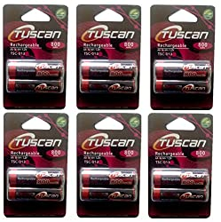 Tuscan 6 Packs of 12 pieces 800mah AA 1.2V, Rechargeable Ni-Mh Batteries 800 mAh AA Size