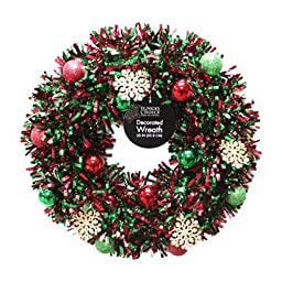 dyno seasonal solutions 6001DW20-1 20-Inch Sizzle Decorated Tinsel Wreath