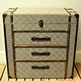 Large Fabric Storage Box Chest with Drawers and Opening Lid - Covered with Check Linen Fabric