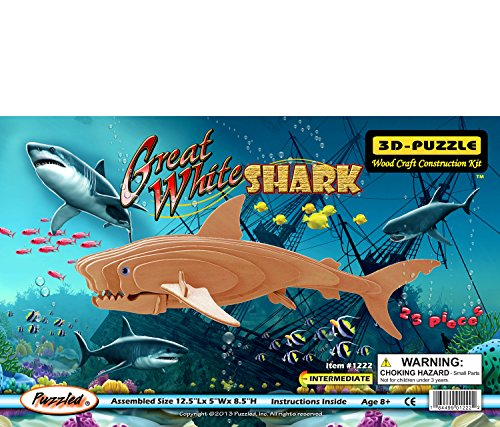 All4LessShop Educational Products - 3-D Wooden Puzzle - Great White Shark -Affordable Gift for your Little One! Item #DCHI-WPZ-H005 - Puzzle consists of 23 interlocking pieces.