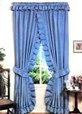 Stacey One Rod Criss Cross Ruffled Priscilla Window Curtain with Tie Backs
