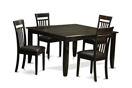 East West Furniture PFCA5-CAP-LC 5-Piece Dining Table Set, Cappuccino Finish