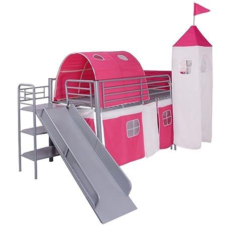 vidaXL Hochbett Spielbett Kinderbett Bett mit Rutsche Leiter Lattenrost Rosa 200x100 cm