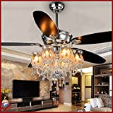OCT® Original Design Indoor Crystal Pendant Lights Chrome Brushed+Wireless Remote Control+Luxury Flower Crystl Lampshade Modern Chandelier 56 Inch 5 Blades 6 LED Bulbs Ceiling Lamps Nordic ikea Ceiling Fan Lights Luxury Ceiling Fan Motor Lighting Bedroom/Home/Living Room/Hotel/Restaurant/Bar/Coffee/Office Lights Application