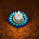 Hand Crafted Light Festive Decor Crystal Floating Diya With Tealight Candle Holder 1 LED Light + 1 Tealight Wax...
