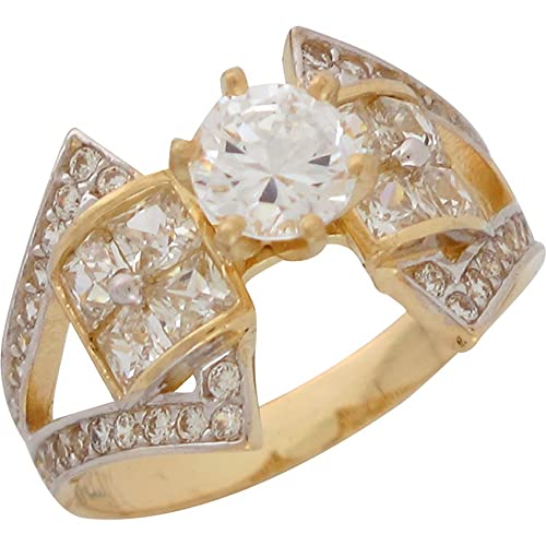 14ct Two Colour Gold White CZ Split Band Ladies Opulent Wedding Engagement Ring