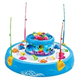 StillCool Fishing Game Double Fish Pool & 26 Fishes Magnetic Rotating Light Music Christmas Toy Gifts (Blue - Fishing Game) (Color: Blue - Fishing Game)