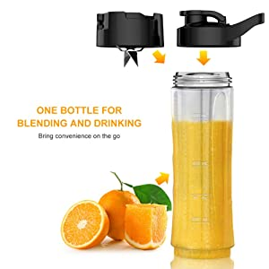 Personal Blender for Shakes and Smoothies - Powerful Drink Mixer with 20 Oz To Go Bottle, Single Use Juicer with Easy One Touch Operation, Great for Sports, Travel, Gym and Office (with Silicone Ice Cube Tray & Bottle Brush) (Color: Silver)