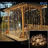 ZSTBT 304LED Window Curtain String Lights Icicle Fairy Lights Wedding Party Home Patio Lawn Garden Decorations 3m*3m - Warm white