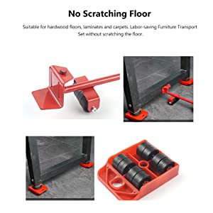Furniture Transport Tools, ONEVER Furniture Lifting and Moving Tool Set for Heavy Furniture & Appliance Lifting 1 Lifting Rod and 4 Furniture Moving Rollers (Red) (Color: Red, Tamaño: Small)