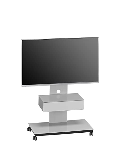 Maja 16379505TV Stand Black/Metal/Glass Platinum Grey