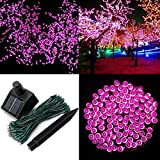 Audew Solar Powered Outdoor LED String Light, 55ft 17m 100 LED Solar Fairy String Lights for Patio, Garden, Christmas, Party, Wedding Pink