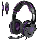 Sades SA-930 PS4 Headset Stereo Sound Gaming Headphones With microphone For Computer PC Mobile Phones 3.5mm jack (Black&Purple) (Color: Purple)