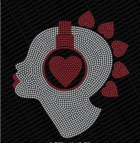 Music Head Rhinestone Iron On Design By Jeannies Rhinestone World