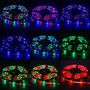 THG Receptor 3528 LED de 5 metros luces de tira RGB fresca Warm Neutral Blanco Rojo Verde Azul + IR de control remoto por RGB luz de tira