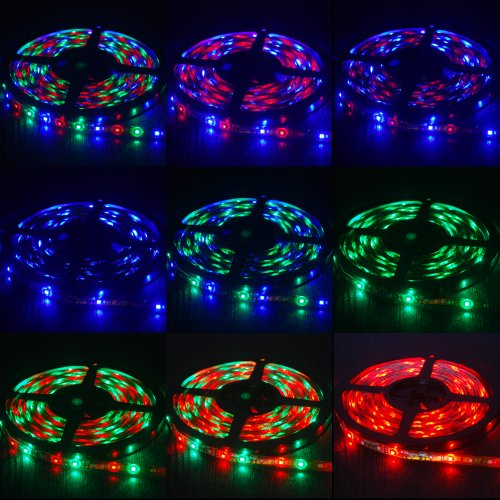 Thg Flexible 16.4 Ft 3528 Led Switchback Rgb Mixed Colors 300 Smd Strip Lights + Ir Remote Control Receiver+ 2A Power Supply Adapter