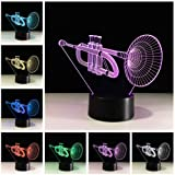 Circle Circle Trumpet Shape 3D Optical Illusion Lamp 7 Colors Change and 15 Keys Remote Control LED Table Desk Lamp for Home Bedroom Decoration (Color: Trumpet)