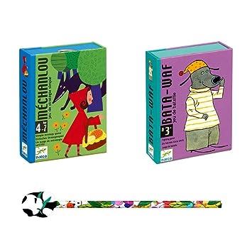 Lot de 2 Jeux DJECO : Bata-Waff + Méchanlou + 1 crayon Funny