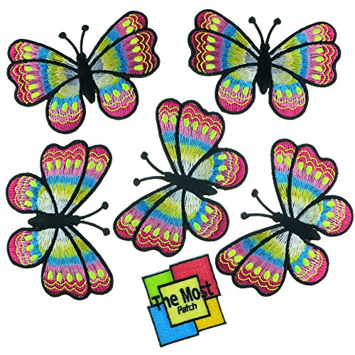 Lot of 6 pieces Big Butterfly Colorful Insect Moths Retro Hippie Embroidered Iron/Sew On Patch (Pink) (Sew On Patches Punk compare prices)