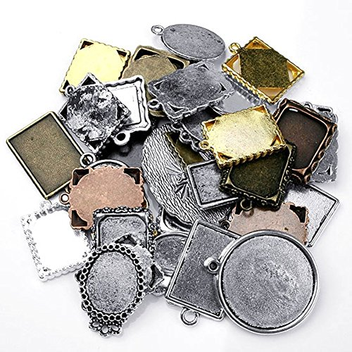DIY Jewelry Making: 150 pcs Assorted Antique Picture Frame Alloy Pendant Cabochon Settings, Lead Free and Cadmium Free & Nickel Free