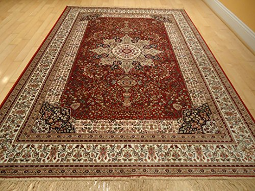 Luxury red high density silk rug traditional red rugs 5x8 for Dining room rugs 5x7