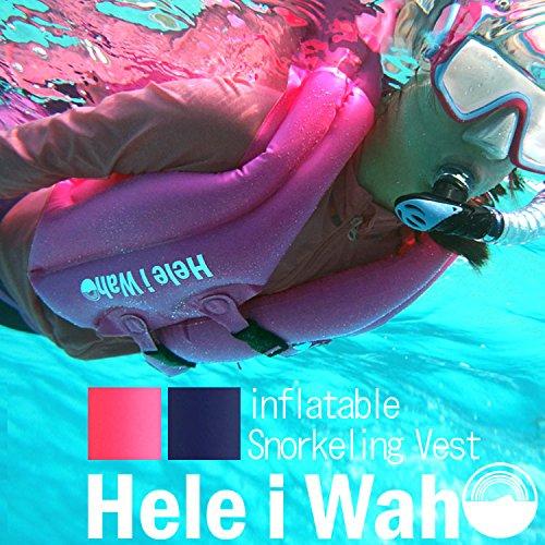 Hele i Waho(ヘレイワホ) スノーケリングベスト 旅行に便利な最小サイズ インフレータブル シュノーケリングベスト 大人用 シュノーケリング 用 フローティングベスト L ネイビー