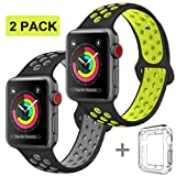 R-fun for Apple Watch Band 42mm, Direct Soft Silicone Replacement Wristband for Apple Watch iwatch Series 3, Series 2, Series 1, Sport, Edition (42MM-Black/Gray+Black/Yellow) (Color: 42mm m/l-black gray and black yellow, Tamaño: 42 mm)