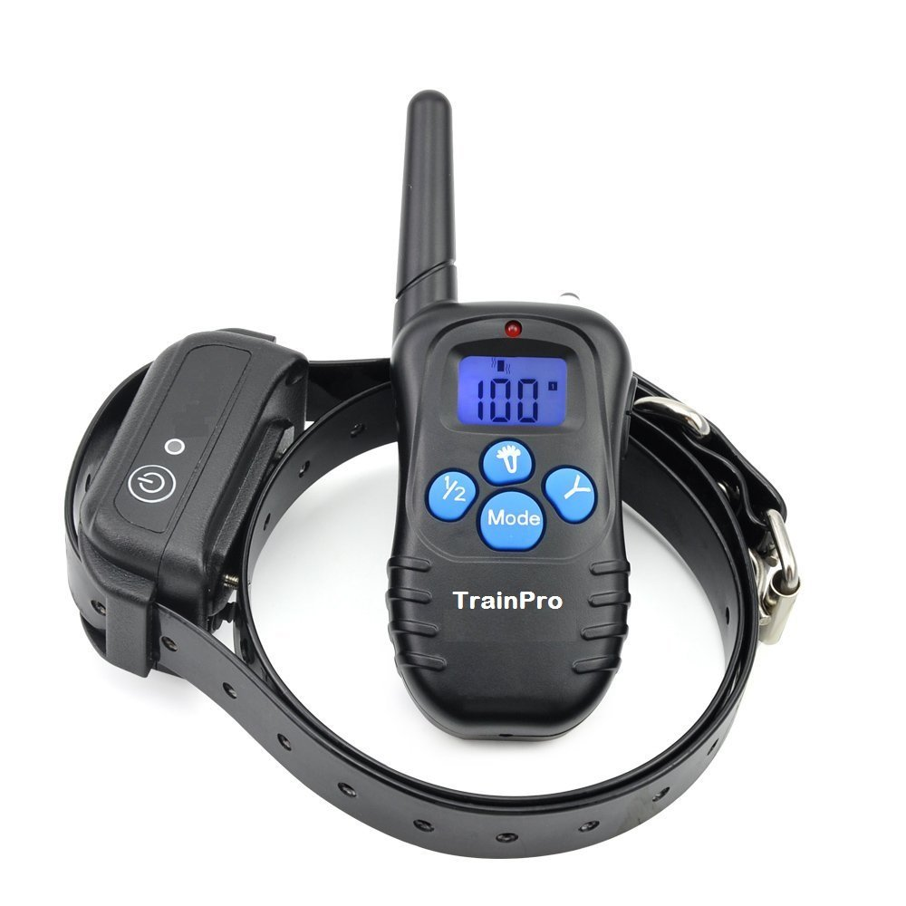 TrainPro PRO998 Electronic Dog Training Shock Collar 330 Yard Rechargeable Waterproof e-Collar System with Tone | Shock | Vibration Plus BONUS eBook