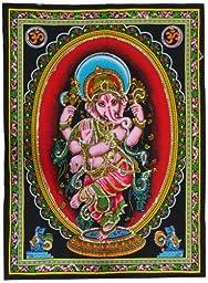 KayJayStyles Cotton Fabric Dancing Ganesh Yoga Tapestry 30\