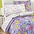 Dream Factory Sweet Butterfly Ultra Soft Microfiber Girls 7 Piece Comforter Set, Purple, Full by Dream Factory